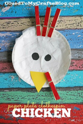 Paper Plate and Clothespin Chicken - Kid Craft Idea