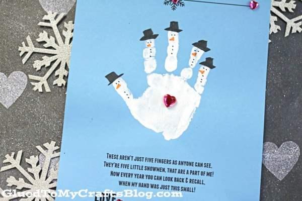 Handprint Snowman - Poem Keepsake Printable