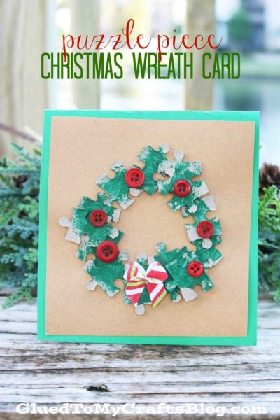 Puzzle Piece Christmas Wreath Cards