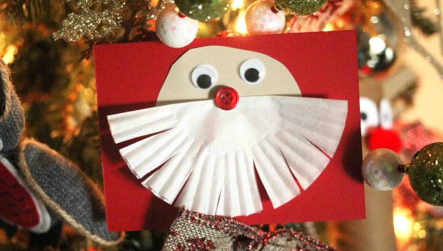 Cupcake Liner Santa Beard Cards – Kid Craft