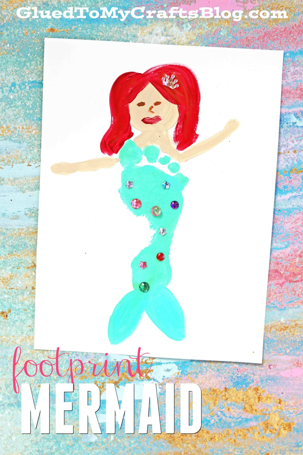 Colorful Footprint Mermaid Keepsake Gift Idea Glued To