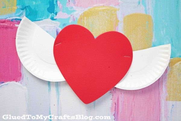Heart With Paper Plate Wings - Kid Craft