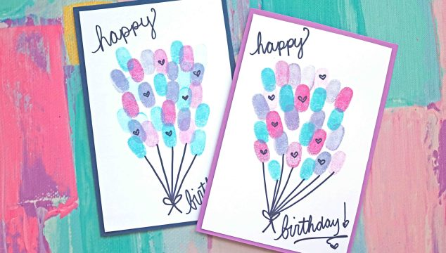 Thumbprint Birthday Balloons Card Idea