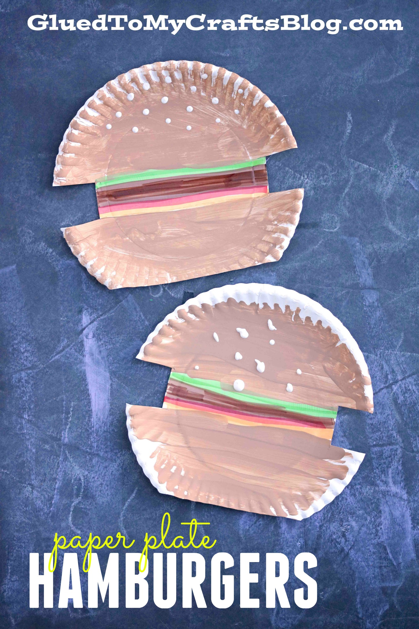 Paper Plate Hamburger Kid Craft Glued To My Crafts