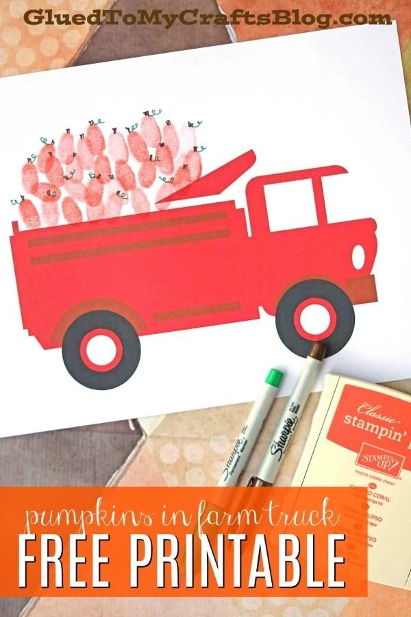Thumbprint Pumpkins In Farm Truck - Kid Craft
