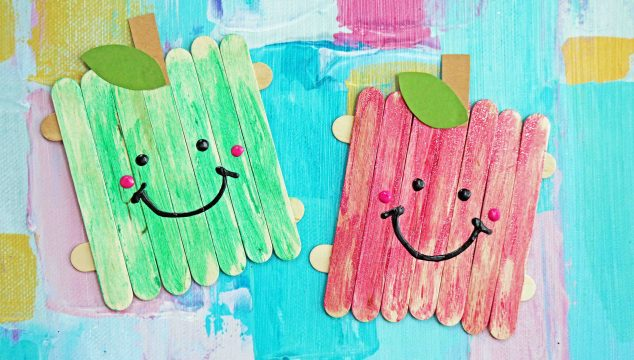 Popsicle Stick Apple Friends – Kid Craft
