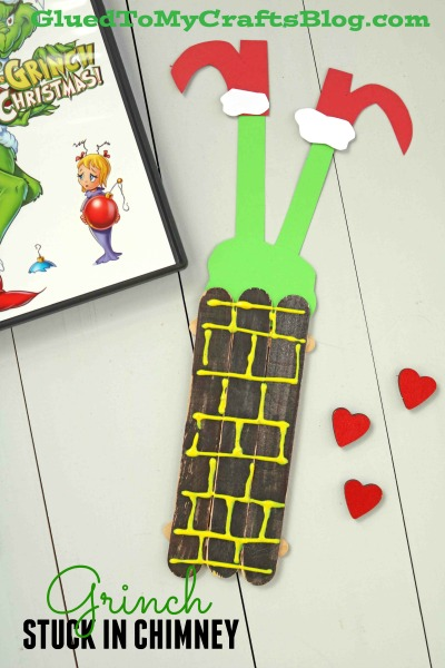 Popsicle Stick Grinch Stuck In Chimney - Kid Craft