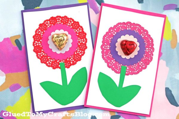 Paper Doily Flower Valentine Cards Glued To My Crafts