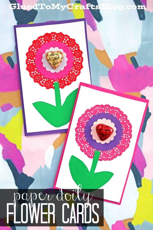 Paper Doily Flower Valentine Cards