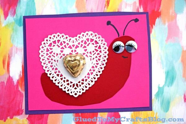 Valentine Themed Paper Doily Snail Cards