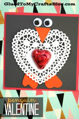 Extra Adorable Paper Heart Doily Penguin Valentine