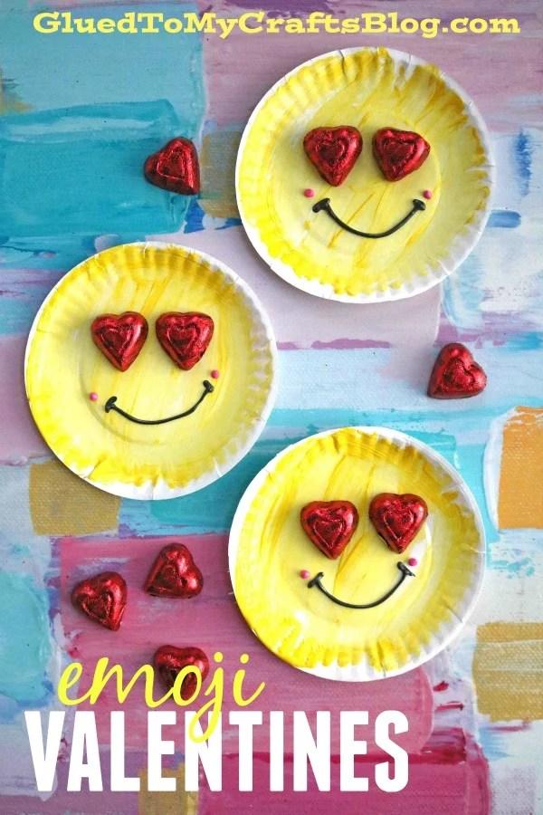 Paper Plate Emoji Valentines