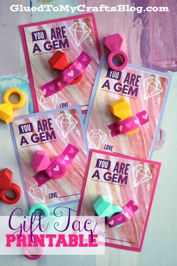You Are A Gem - Valentine Gift Tag Printable