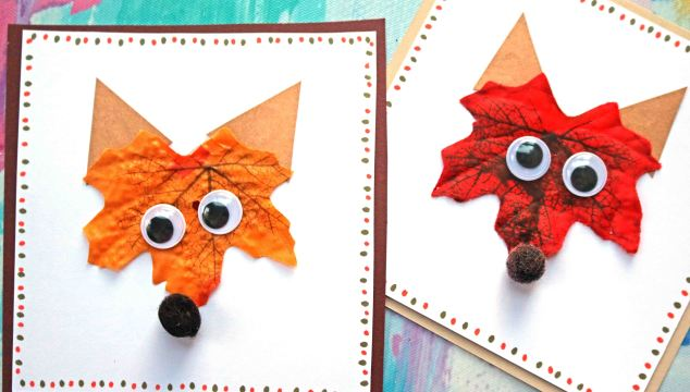 Decorative Leaf Fox Handmade Cards
