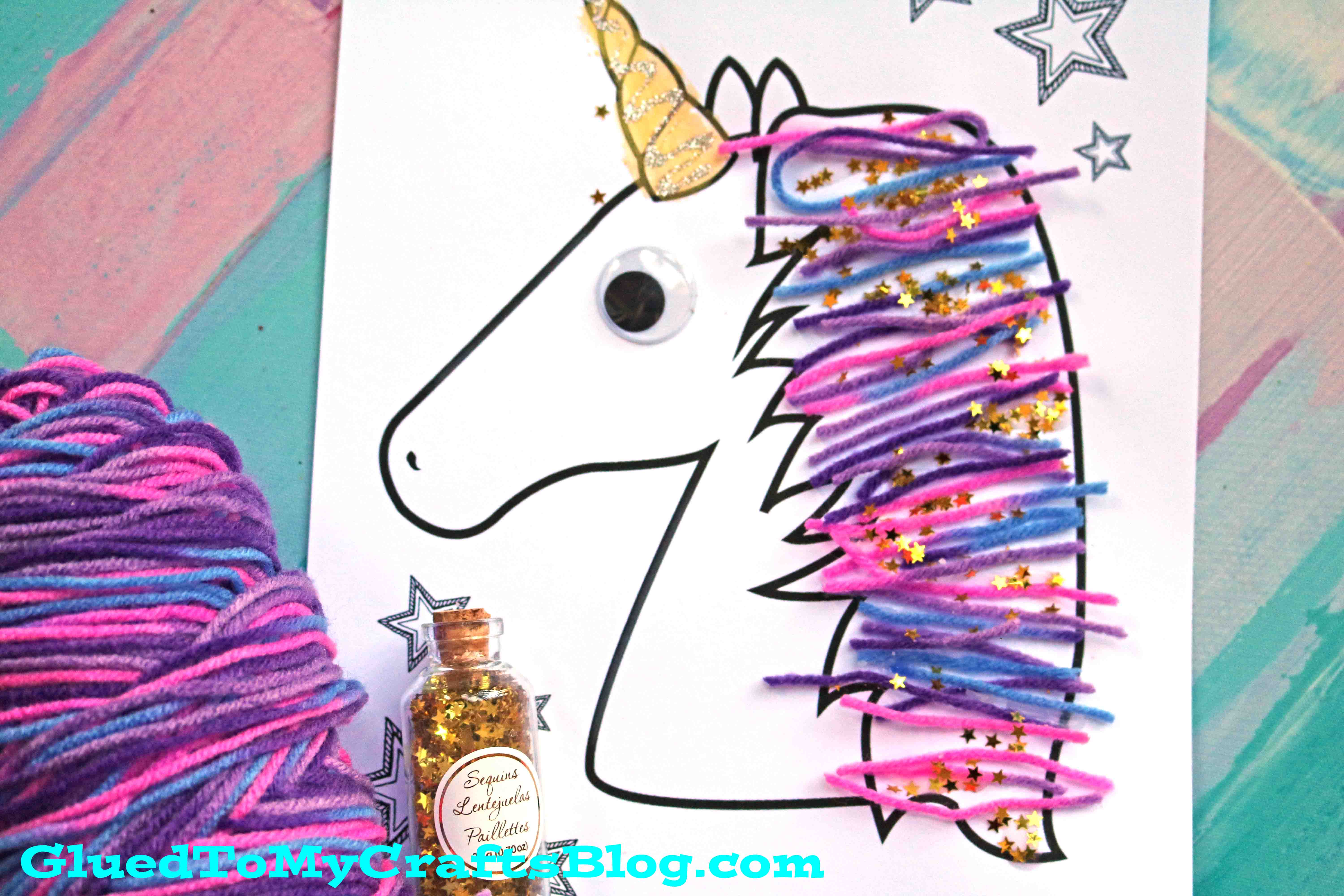 Magical Unicorn Yarn Hair Kid Craft Idea Wfree Printable