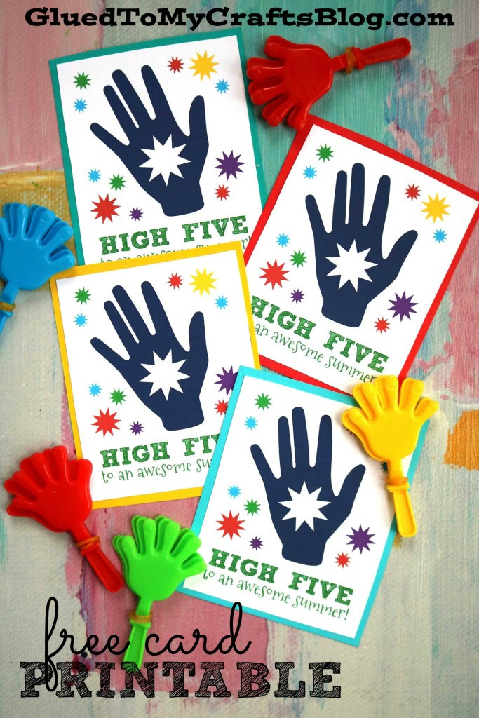 High Five To A Great Summer - Card Printable