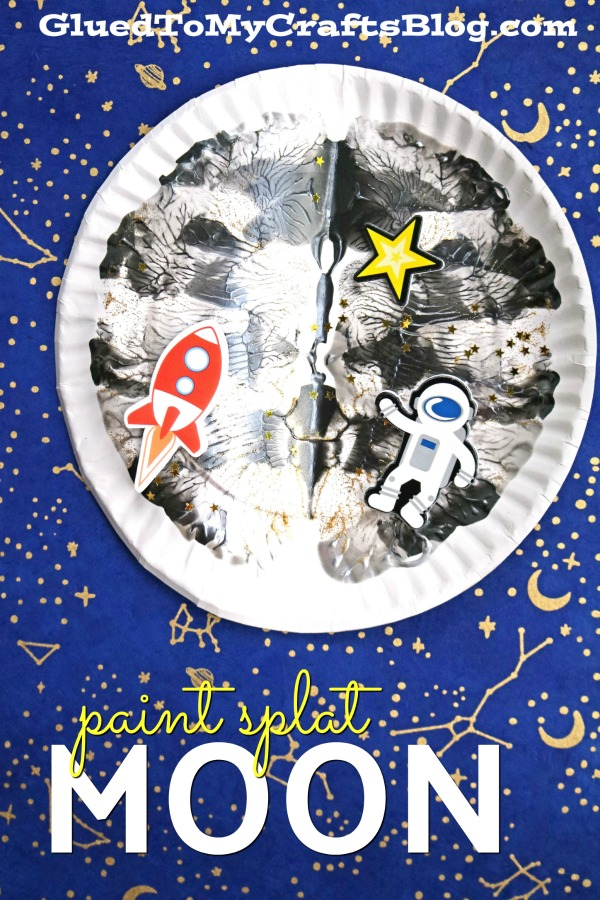 Paper Plate Paint Splat Moon - Kid Craft