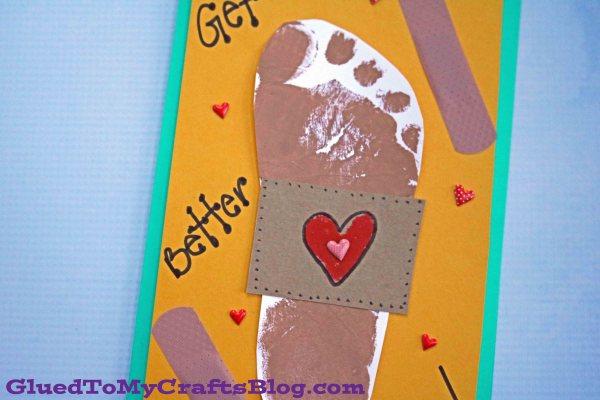 Footprint Bandaid Get Well Card - Kid Craft