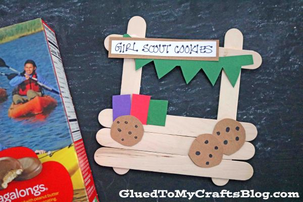 Popsicle Stick Girl Scout Cookie Booth - Kid Craft Idea