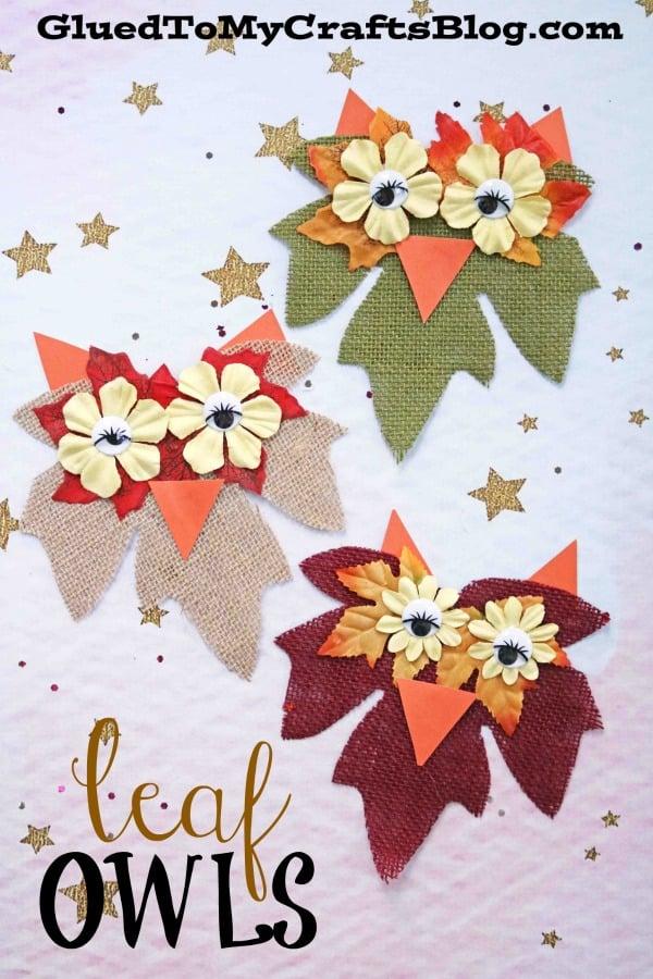 Burlap Leaf Owls - Fall Kid Craft idea