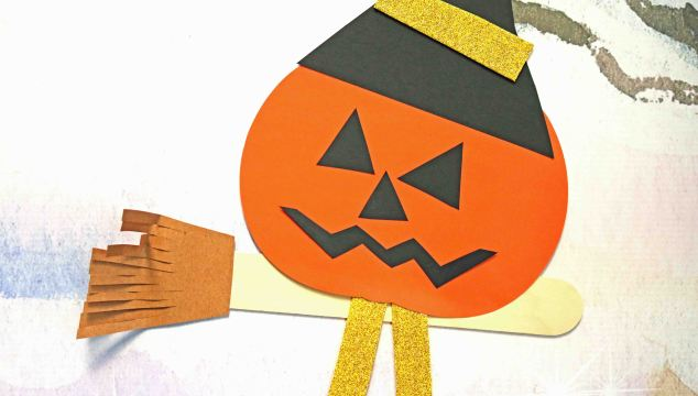 Flying Pumpkin Witch – Kid Craft
