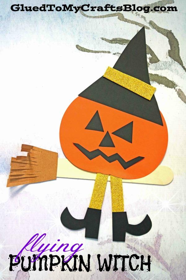 Flying Pumpkin Witch Kid Craft Glued To My Crafts