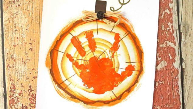 Handprint Wood Slice Pumpkin – Keepsake Printable
