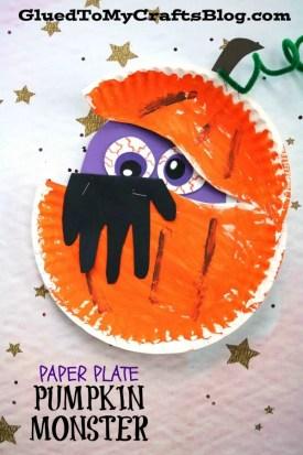 Paper Plate Pumpkin Monster - Kid Craft
