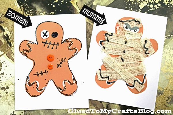 Mixed Media Halloween Gingerbread Man - Kid Craft