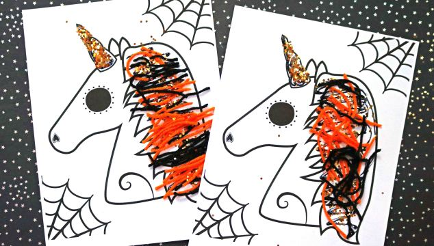 Halloween Unicorn Craft w/free printable template