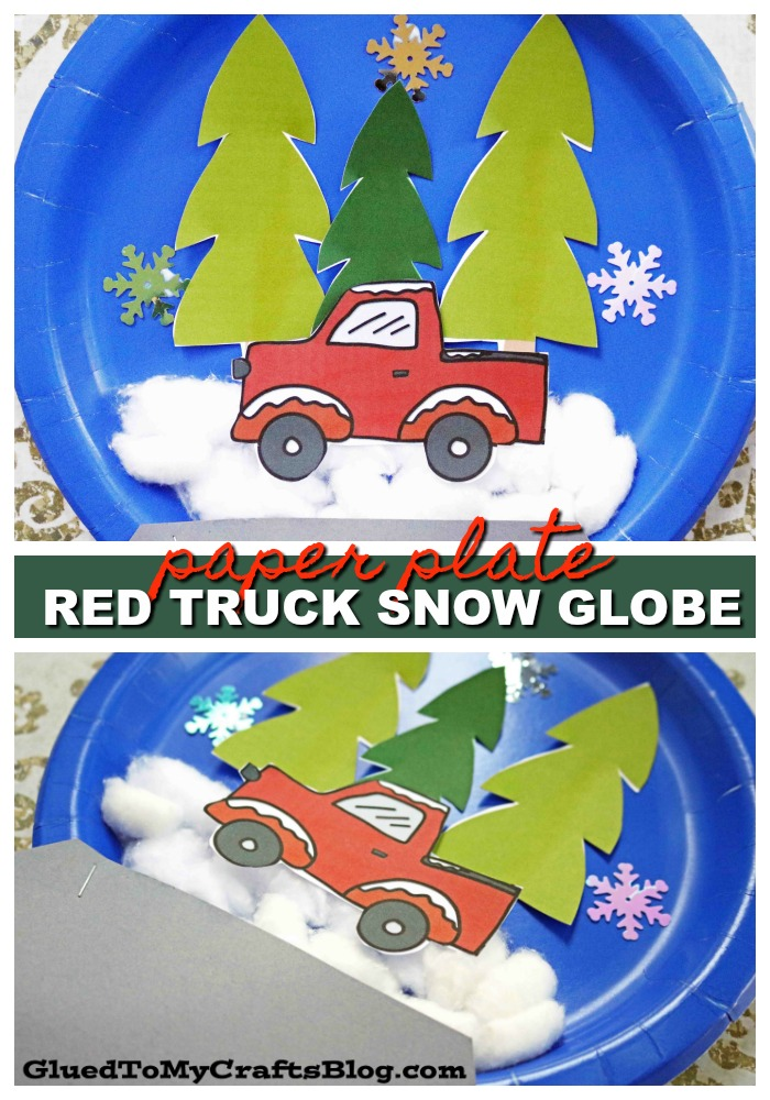 Paper Plate Red Truck Christmas Snow Globe - Kid Craft