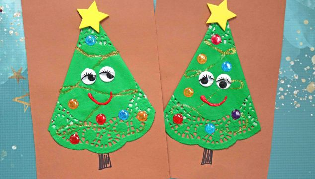 Paper Doily Christmas Tree Friends – Paper Art Craft