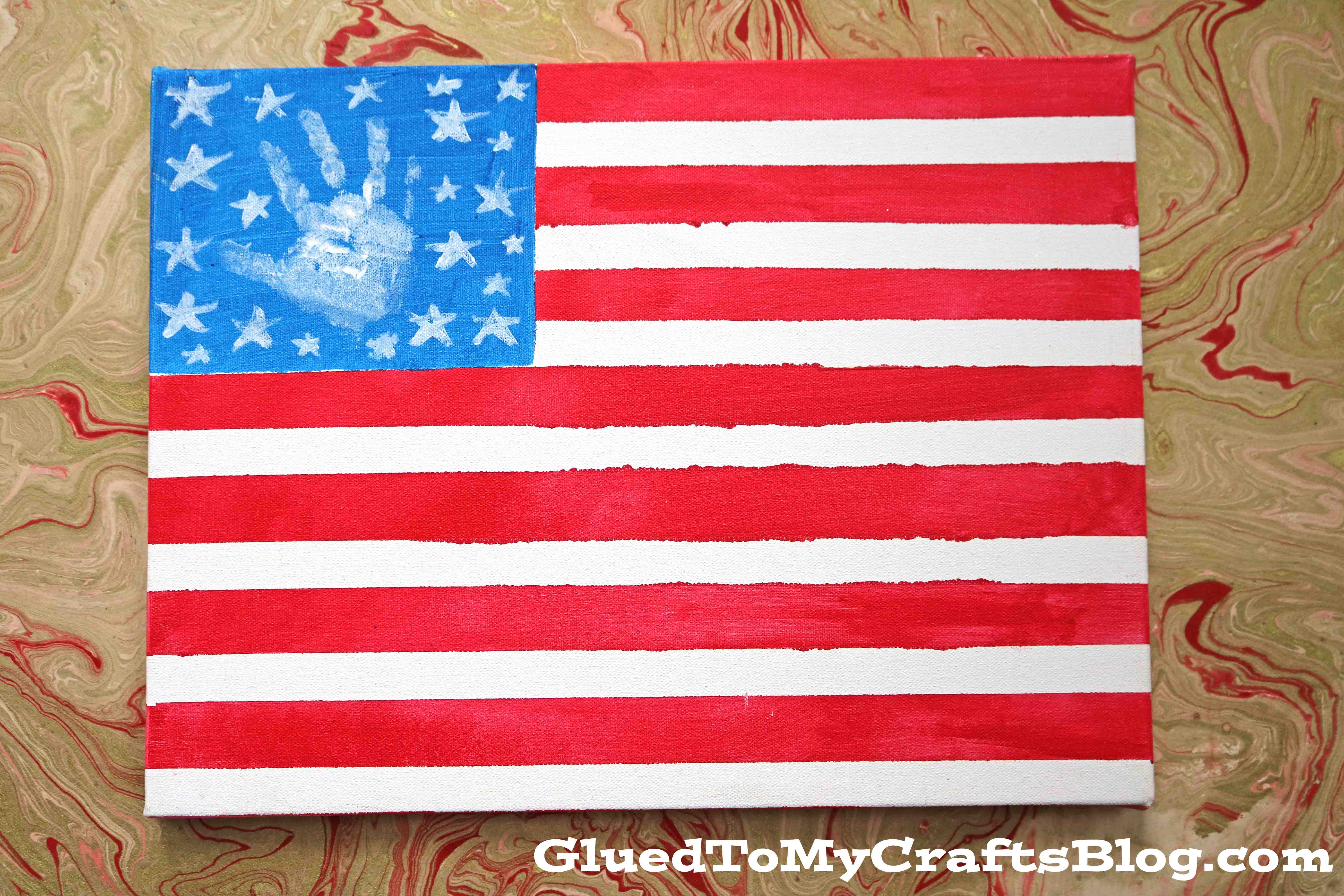 Made By A Toddler Flag Canvas