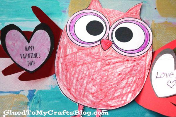 Paper Valentine Holding Owl - Kid Craft