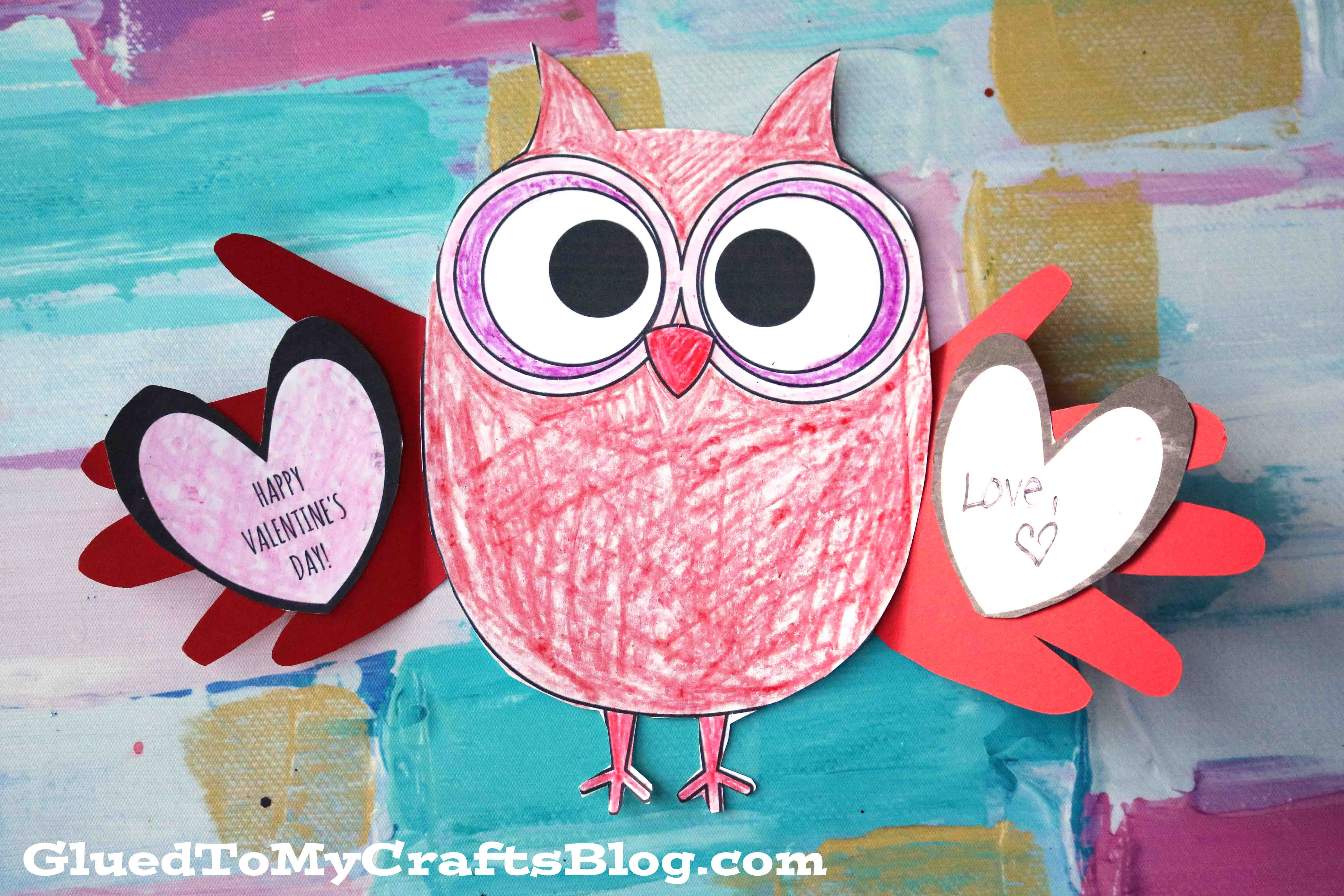 Paper Valentine Holding Owl