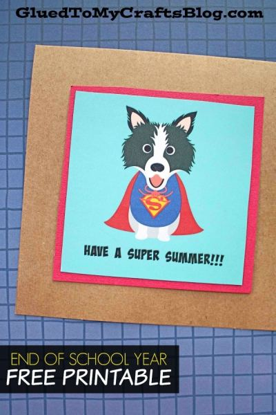 Have A Super Summer - Superdog Gift Tag Printable