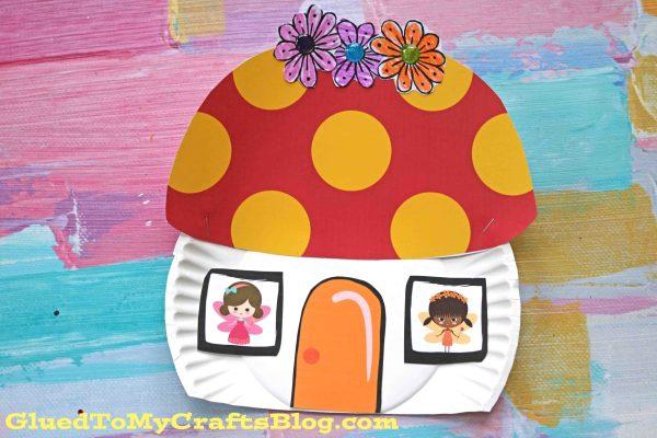 Paper Plate Fairy Mushroom House - Kid Craft Idea