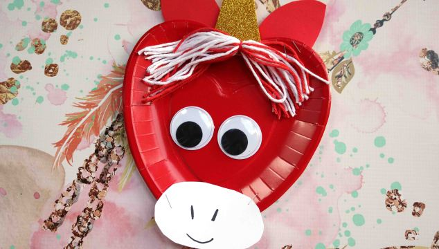Paper Plate Valentine Unicorn - Kid Craft