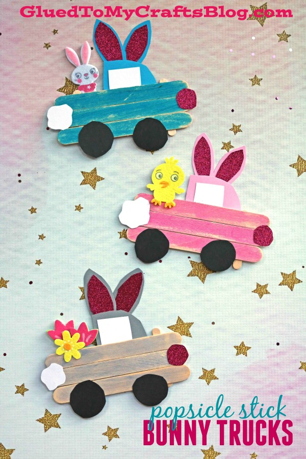 Popsicle Stick Easter Bunny Trucks Kid Craft Glued To My Crafts