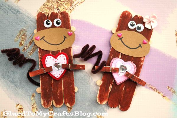 Popsicle Stick Valentine Monkey - Kid Craft