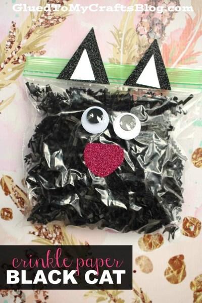 Crinkle Paper Black Cat - Kid Craft Idea