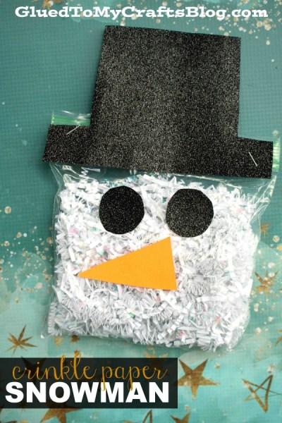Crinkle Paper Snowman - Kid Craft Idea