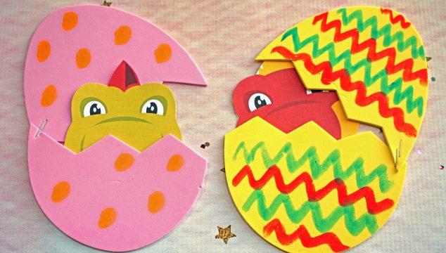 Craft Foam Egg Hatching Baby Dinosaur - Kid Craft Idea