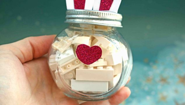 Non-Candy Easter Gift Idea - Building Brick Bunny Jar