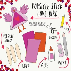Popsicle Stick Love Bird - Kid Craft Idea
