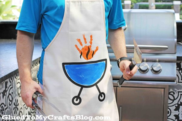Vinyl Grilling Apron w/Handprint Flame