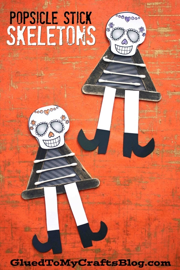 Popsicle Stick Skeleton Friends - Kid Craft - Glued To My Crafts