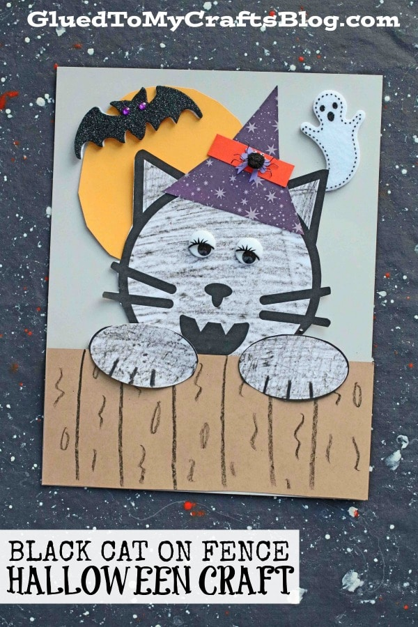 Halloween Black Cat On Fence - Kid Craft