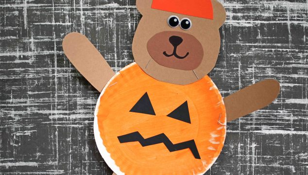 Paper Plate Pumpkin Jack-O-Lantern Teddy Bear Craft