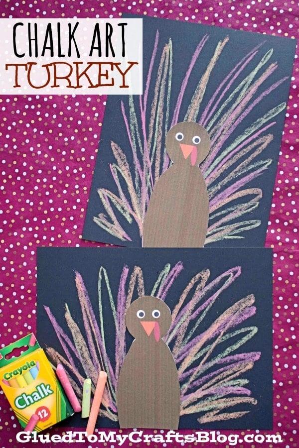 Paper Chalk Art Turkey - Kid Craft